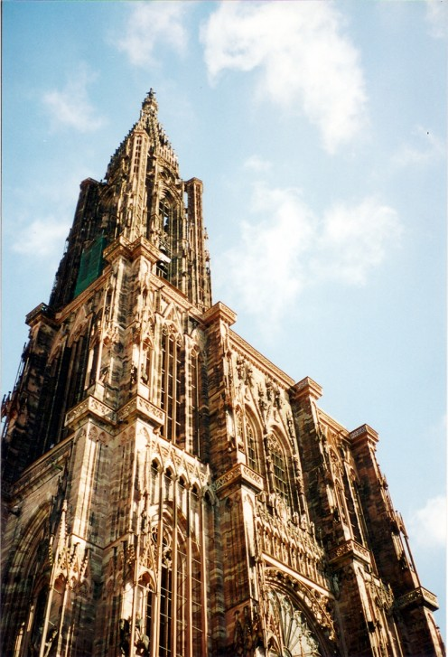 La Cathedrale Notre Dame Reaches for the Sky, Strasbourg France