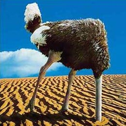 Denial is like an ostrich with its head in the sand