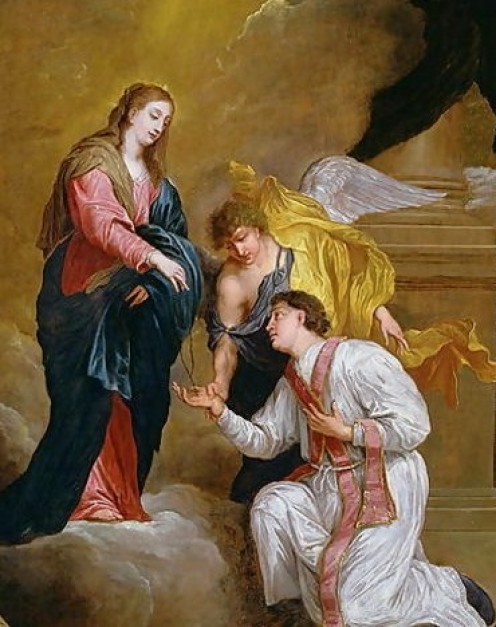 Public domain ~ copyright expired. See: http://en.wikipedia.org/wiki/File:St-Valentine-Kneeling-In-Supplication.jpg