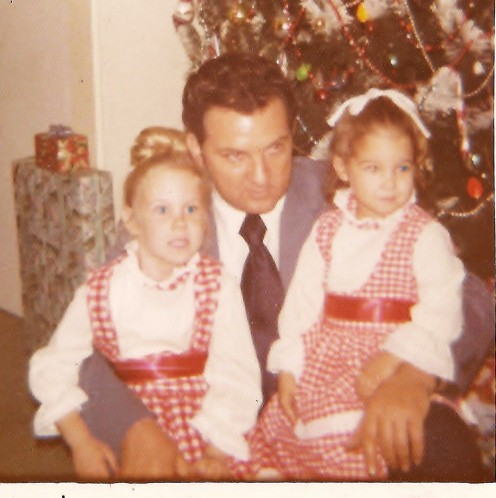 My Dad with my sister and I Christmas Eve 1972
