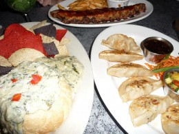 Clockwise from Top: Baby Back Ribs, Pork Pot Stickers, Spinach & Artichoke Dip