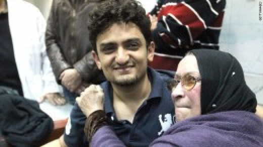 Wael Ghonim met Khaled Said's mother in Tahrir Square on February 8, 2011