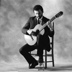 Typical sitting position for a classical guitarist
