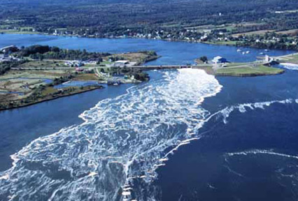 The reversing falls at Annapolis NS is a major tourist attraction in the area. It is directly related to the world class tides of the Bay of Funday.