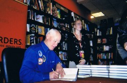 Mullane flew on three Space Shuttle missions in 1984, 1988 and 1990. Here he is signing books after his talk - at the Borders bookstore located at the Time Warner Center.