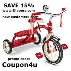 Use promo code:  Coupon4u to save 15% off your Radio Flyer toy