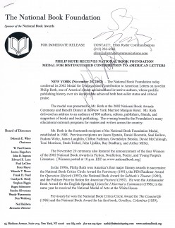 Okay, so Philip Roth is a leading fiction author, like Miller, perhaps the greatest in American history, captured at the 2002 National Book Award Ceremony. And the second autograph shown? It is of Steve Martin, host of the annual black tie affair.
