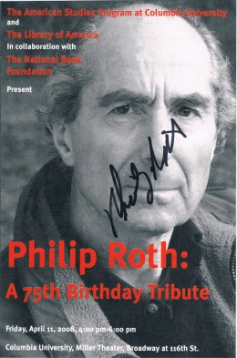 Here is Philip Roth, captured again on April 11, 2008 at an event marking his 75th birthday and career. Roth gained early literary fame with the 1959 collection Goodbye, Columbus  and cemented it with hisbestseller, Portnoy's Complaint.