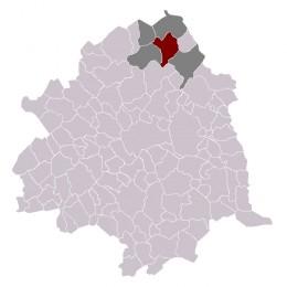 Map location of Roncq, in Lille 'arrondissement'