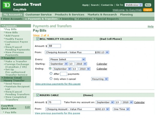How do I pay my credit card bill online using TD Easyweb?