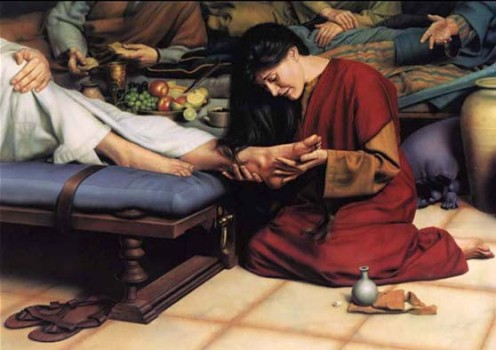 Mary of Bethany Anointing Jesus' Feet