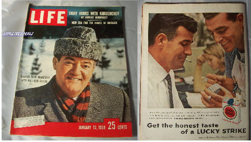 Old Vintage LIFE Magazines - January 12, 1959 - Khrushchev, Humphrey, Castro and old vintage ads