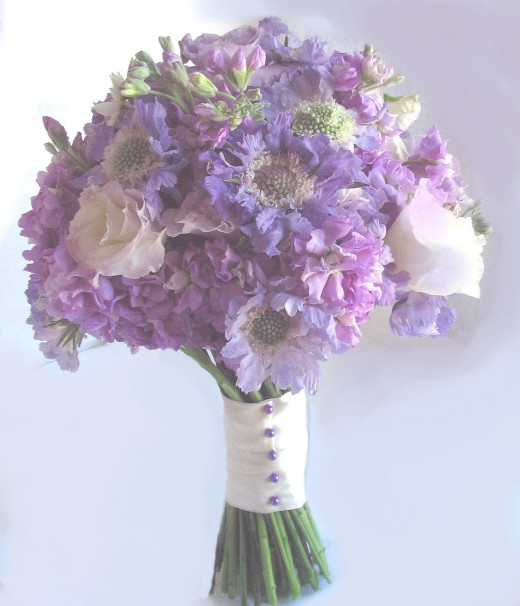 Actual bouquet from the above flower color board.