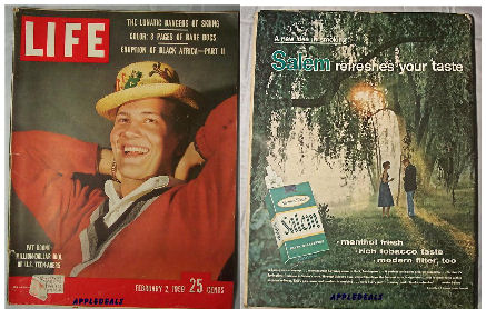 Old Vinatage LIFE Magazines - February 2, 1959 - headlines Pat Boone Skiing, and rare Dogs. Along with photo essays and vintage ads