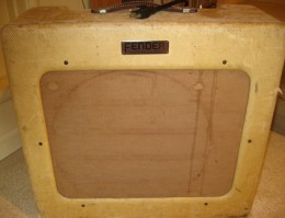 "A 1949 Fender, ""TV panel"" front, guitar amp, with it's distinctive ""Tweed"" covering"