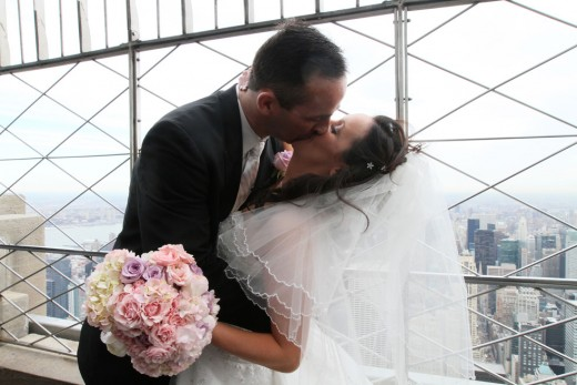 Getting married on top of the Empire State Building in New York City, has become a tradition on Valentine's Day. The newlyweds are both  FDNY  firefighters