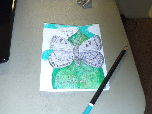 Continuing to color the aqua sky around the leaf and the butterfly.