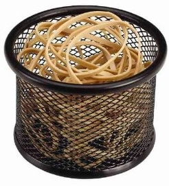 Stash your rubber bands in this tasteful mesh cup.