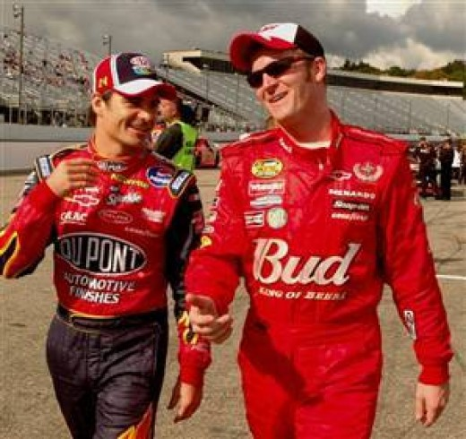 Earnhardt and his teammate Jeff Gordon