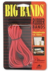 Contain the biggest things in your office with big rubber bands.