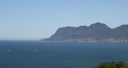 Looking down the Peninsula towards Fish Hoek from Boyes Drive, a road which clings to the mountainside above Kalk Bay