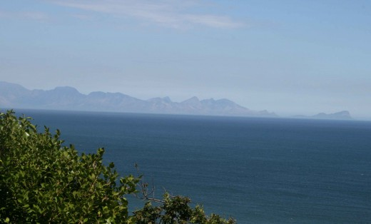 Looking across False Bay with Cape Hangklip in the distance to the right.