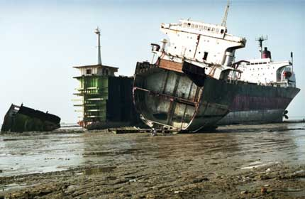 Broken: The old ship is stuck in the mud and dirty on the inside