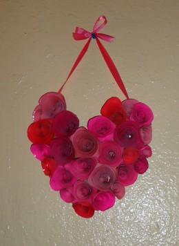 hanging heart made with paper roses