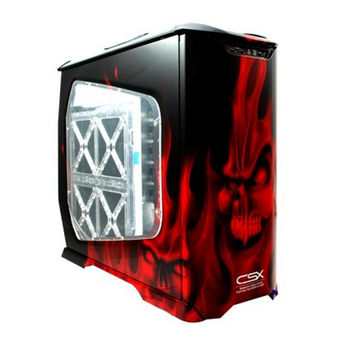 CSX CX-830RDFM-01-GP Red Flaming Skulls Stacker Full Tower Case - Limited Edition: Side Side Window View