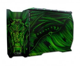 CSX CX-830DRGN-01-GP Green Dragon Stacker Full Tower Case - Limited Edition: Side View