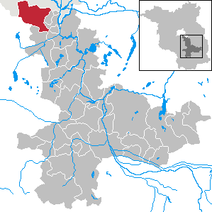 Map location of Schoenefeld, Brandenburg state.
