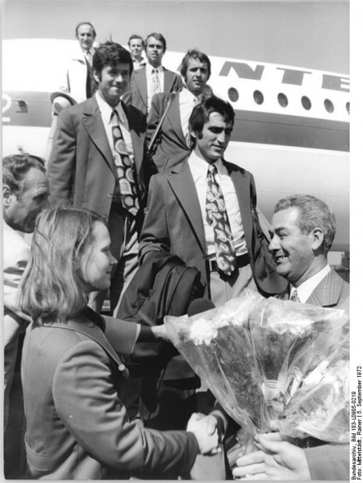 Karin Janz and other German Democratic Republic gymnasts returning to Berlin-Schoenefeld from the Munich Olympics in 1972