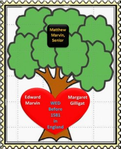 Family Tree: Edward Marvin wed Margaret Gilligat in 1581