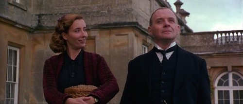 Emma Thompson and Anthony Hopkins playing Miss Kenton and Mr. Stevens