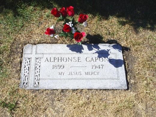 Al Capone's headstone at Mount Carmel Cemetary in Hillside, IL