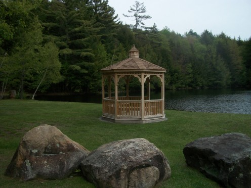 When the sun is particularly hot overhead, the gazebo is a great spot to get out of the glare and still enjoy a view of the pond.
