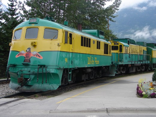 The White Pass and Yukon Railway waiting for passengers in Skagway Alaska.