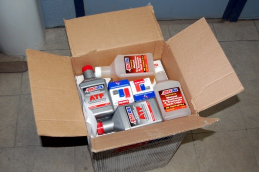 My box of Amsoil goodies came into day! I shouldn't be this excited about flushing transmissions and changing oil lol