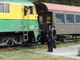 The engineer and conductors having a discussion.