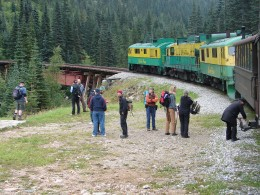 Some people choose to get off the train and hike back down to Skagway. Not us.