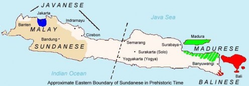 Map of Madurese distribution (in green). The homeland of the Madurese is the Madura island, the north eastern of Java