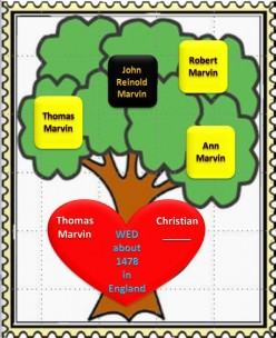Family Tree: Thomas Marvin wed Christian about 1478