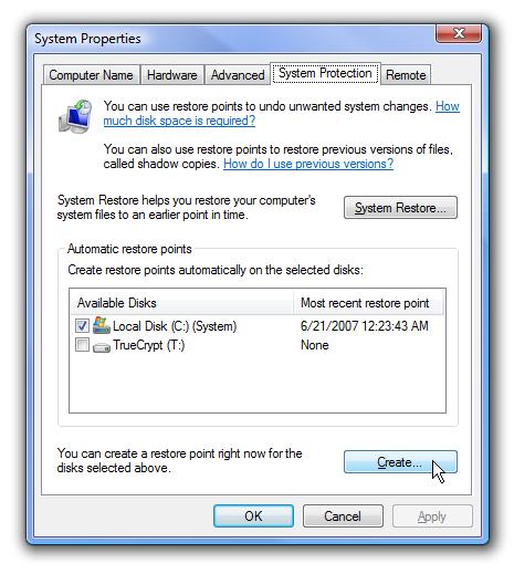 Restore Point Windows Vista or 7