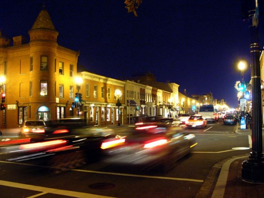 The streets of Georgetown at night