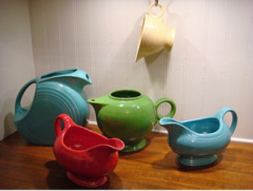 Turquoise disc pitcher, Chartrreuse teapot, Turquoise and scarlet gravy boats