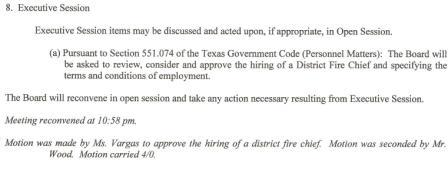Nov. 3, 2011- ESD6 Agenda.Joe Hearn illegally appointed as District Fire Chief.