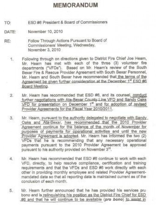 Memorandum of Resignation from Joe Hearn. Nov. 10, 2011. pg. 1