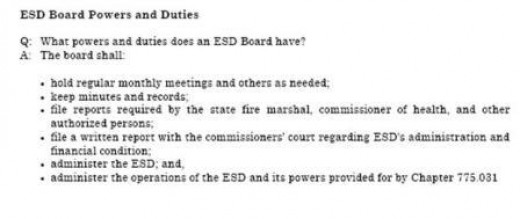 ESD REPORTS TO COUNTY COMMISSIONERS AND OTHER ENTITIES TO INCLUDE THE FIRE MARSHALS OFFICE.