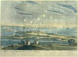 """An artist's rendition of the bombardment of Fort McHenry, the inspiration for """"The Star Spangled Banner"""" by Francis Scott Key"""