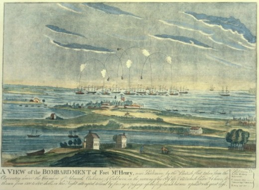 "An artist's rendition of the bombardment of Fort McHenry, the inspiration for ""The Star Spangled Banner"" by Francis Scott Key"